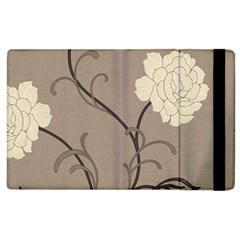Flower Floral Black Grey Rose Apple Ipad 3/4 Flip Case by Mariart