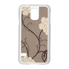 Flower Floral Black Grey Rose Samsung Galaxy S5 Case (white) by Mariart