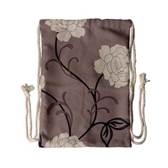 Flower Floral Black Grey Rose Drawstring Bag (small) by Mariart