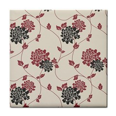 Flower Floral Black Pink Tile Coasters by Mariart