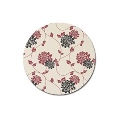 Flower Floral Black Pink Magnet 3  (round) by Mariart