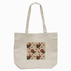 Flower Floral Black Pink Tote Bag (cream) by Mariart