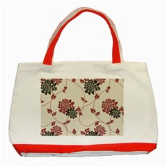 Flower Floral Black Pink Classic Tote Bag (red) by Mariart