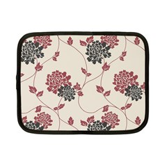 Flower Floral Black Pink Netbook Case (small)  by Mariart