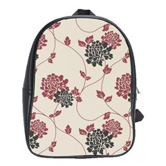 Flower Floral Black Pink School Bags(large)  by Mariart