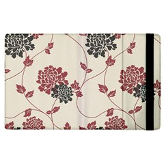Flower Floral Black Pink Apple Ipad 2 Flip Case by Mariart