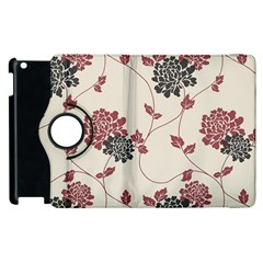 Flower Floral Black Pink Apple Ipad 3/4 Flip 360 Case by Mariart
