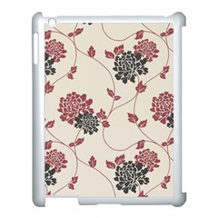 Flower Floral Black Pink Apple Ipad 3/4 Case (white) by Mariart