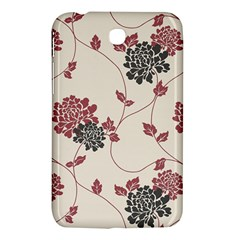 Flower Floral Black Pink Samsung Galaxy Tab 3 (7 ) P3200 Hardshell Case  by Mariart