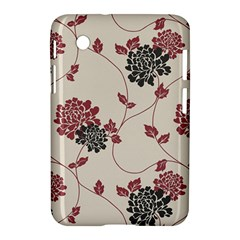 Flower Floral Black Pink Samsung Galaxy Tab 2 (7 ) P3100 Hardshell Case  by Mariart