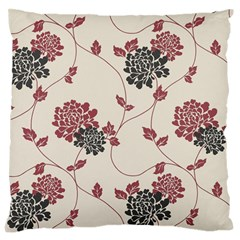Flower Floral Black Pink Large Flano Cushion Case (one Side) by Mariart