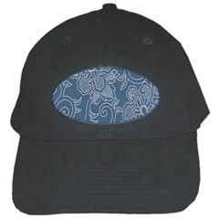 Flower Floral Blue Rose Star Black Cap by Mariart
