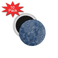 Flower Floral Blue Rose Star 1 75  Magnets (10 Pack)  by Mariart