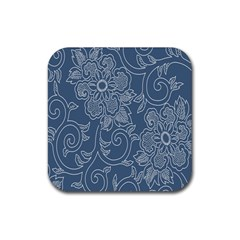 Flower Floral Blue Rose Star Rubber Coaster (square)  by Mariart