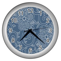 Flower Floral Blue Rose Star Wall Clocks (silver)  by Mariart