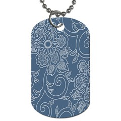 Flower Floral Blue Rose Star Dog Tag (one Side) by Mariart