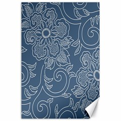 Flower Floral Blue Rose Star Canvas 24  X 36  by Mariart