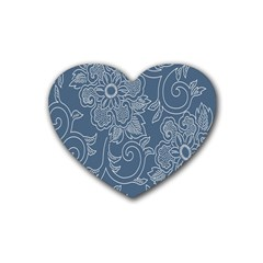 Flower Floral Blue Rose Star Rubber Coaster (heart)  by Mariart