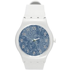 Flower Floral Blue Rose Star Round Plastic Sport Watch (m) by Mariart