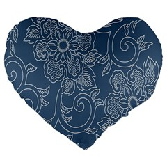 Flower Floral Blue Rose Star Large 19  Premium Heart Shape Cushions by Mariart