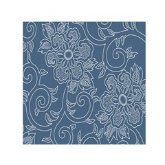 Flower Floral Blue Rose Star Small Satin Scarf (square) by Mariart
