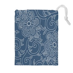 Flower Floral Blue Rose Star Drawstring Pouches (extra Large) by Mariart