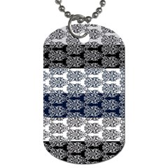 Digital Print Scrapbook Flower Leaf Colorgray Black Purple Blue Dog Tag (two Sides) by Mariart