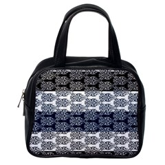 Digital Print Scrapbook Flower Leaf Colorgray Black Purple Blue Classic Handbags (one Side) by Mariart