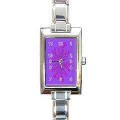 Dendron Diffusion Aggregation Flower Floral Leaf Red Purple Rectangle Italian Charm Watch by Mariart