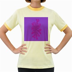 Dendron Diffusion Aggregation Flower Floral Leaf Red Purple Women s Fitted Ringer T Shirts by Mariart