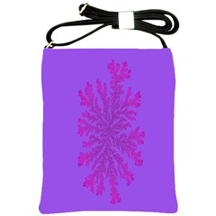 Dendron Diffusion Aggregation Flower Floral Leaf Red Purple Shoulder Sling Bags by Mariart