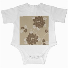 Flower Floral Grey Rose Leaf Infant Creepers by Mariart