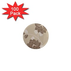 Flower Floral Grey Rose Leaf 1  Mini Magnets (100 Pack)  by Mariart