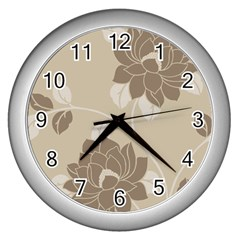 Flower Floral Grey Rose Leaf Wall Clocks (silver)  by Mariart