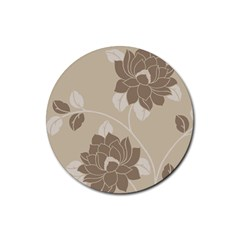 Flower Floral Grey Rose Leaf Rubber Round Coaster (4 Pack)  by Mariart