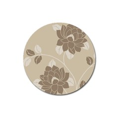 Flower Floral Grey Rose Leaf Magnet 3  (round) by Mariart