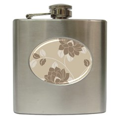 Flower Floral Grey Rose Leaf Hip Flask (6 Oz) by Mariart