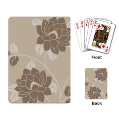 Flower Floral Grey Rose Leaf Playing Card by Mariart