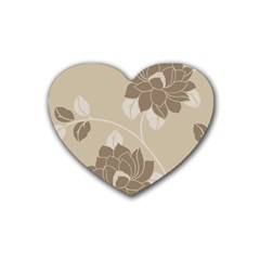 Flower Floral Grey Rose Leaf Heart Coaster (4 Pack)  by Mariart