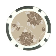 Flower Floral Grey Rose Leaf Poker Chip Card Guard by Mariart