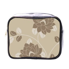 Flower Floral Grey Rose Leaf Mini Toiletries Bags by Mariart