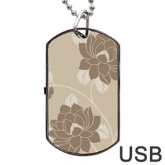 Flower Floral Grey Rose Leaf Dog Tag Usb Flash (two Sides)