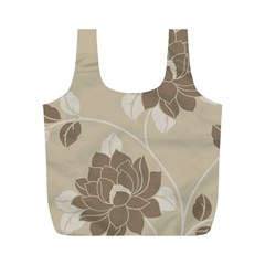 Flower Floral Grey Rose Leaf Full Print Recycle Bags (m)  by Mariart