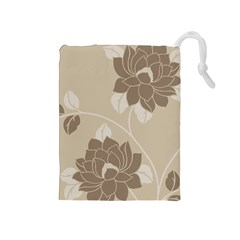 Flower Floral Grey Rose Leaf Drawstring Pouches (medium)  by Mariart