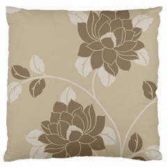 Flower Floral Grey Rose Leaf Large Flano Cushion Case (two Sides) by Mariart