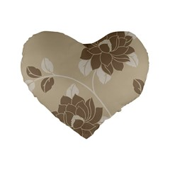 Flower Floral Grey Rose Leaf Standard 16  Premium Flano Heart Shape Cushions by Mariart