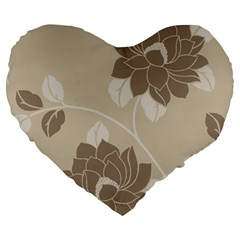 Flower Floral Grey Rose Leaf Large 19  Premium Flano Heart Shape Cushions by Mariart
