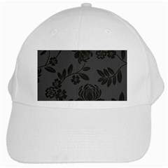 Flower Floral Rose Black White Cap by Mariart