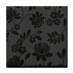 Flower Floral Rose Black Tile Coasters by Mariart