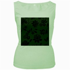 Flower Floral Rose Black Women s Green Tank Top